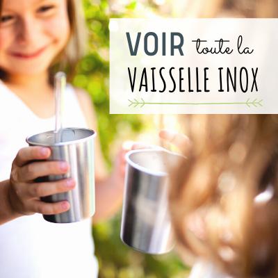 Vaisselle inox camping incassable saine écologique : timbale, assiette, paille...